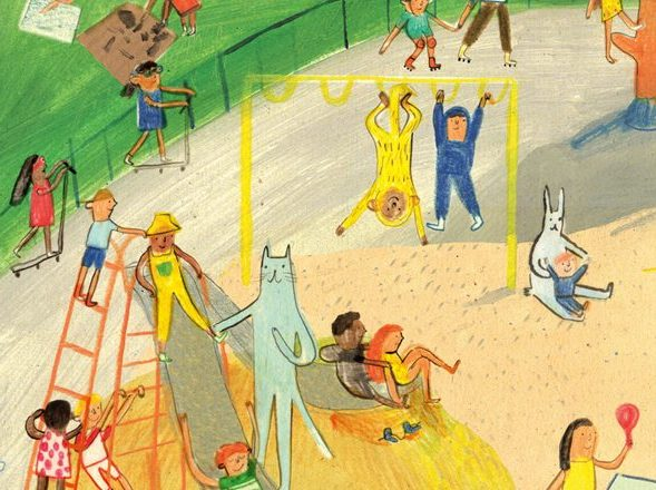 illustration of animals and children in a park by Maisie Shearring